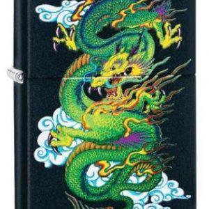 Zippo Black Matte Green Dragon