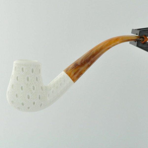 Meerschaum Lattice Finish Pear Full Bend with Case